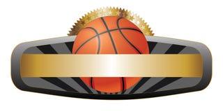 Insegna dell'emblema di disegno di pallacanestro Fotografie Stock Libere da Diritti