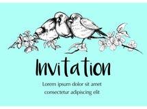 Insegna dell'invito con gli uccelli ed i fiori immagine stock libera da diritti