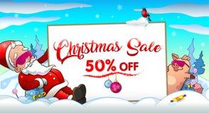 Insegna dell'invito di vendita di Natale con il Babbo Natale ed il maiale in vetri freschi royalty illustrazione gratis