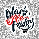 Insegna dell'iscrizione della mano di vendita di Black Friday Immagini Stock