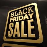 Insegna dell'iscrizione dell'oro di vendita di Black Friday Immagine Stock