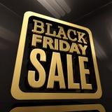 Insegna dell'iscrizione dell'oro di vendita di Black Friday Fotografia Stock Libera da Diritti