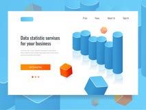 Insegna dell'istogramma, statistica e concetto di pianificazione, vettore isometrico di analisi dei dati di affari illustrazione di stock