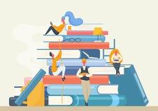 Insegna della biblioteca del libro con i caratteri della gente Libri di lettura dell'uomo e della donna del fumetto Vettore di co illustrazione vettoriale