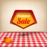 Insegna della carta di vendita di autunno con la struttura Immagine Stock