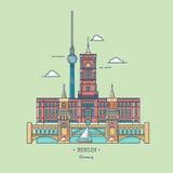 Insegna della città di Berlino nella linea stile d'avanguardia Viaggio Berlin Icon Attrazioni turistiche nella capitale della Ger Immagini Stock Libere da Diritti