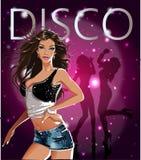Insegna della discoteca con le ragazze di dancing affascinanti illustrazione di stock