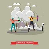 Insegna della fucilazione di sport Illustrazione di vettore dei giochi della concorrenza di biathlon di tiro con l'arco Immagini Stock