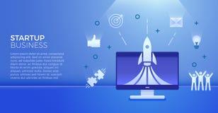 Insegna della giovane impresa Illustrazione di vettore per gli oggetti legati al mercato Lancio di Rocket sul computer con le ico illustrazione di stock