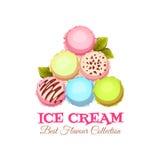 Insegna della piramide del gelato con il testo del campione logotype Illustrazione di vettore Fotografia Stock Libera da Diritti