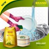 Insegna della pubblicità della lavastoviglie liquida dura dello smacchiatore per l'utensile pulito e fresco illustrazione vettoriale