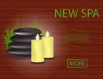 Insegna della stazione termale con le pietre, le candele e l'erba con spazio per testo, per la vostra progettazione illustrazione vettoriale