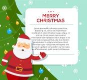 Insegna della tenuta di Santa Claus con i saluti di Natale Fotografia Stock Libera da Diritti