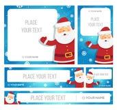Insegna della tenuta di Santa Claus con i saluti di Natale Immagine Stock Libera da Diritti
