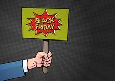 Insegna della tenuta della mano con il testo di vendita di Black Friday sopra fondo in manifesto di Art Style Special Offer Disco Immagini Stock Libere da Diritti