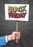 Insegna della tenuta della mano con il testo di vendita di Black Friday sopra fondo nel concetto del manifesto di Art Style Speci Fotografie Stock Libere da Diritti