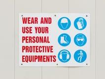 Insegna delle attrezzature protettive personali di usura Fotografie Stock Libere da Diritti