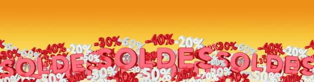Insegna delle icone e delle percentuali di vendite che galleggia nella rappresentazione dell'aria 3D Immagini Stock