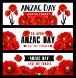 Insegna di Anzac Remembrance Day con il fiore rosso del papavero royalty illustrazione gratis