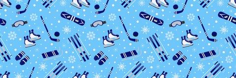 Insegna di aria aperta di inverno Modello senza cuciture di vettore dell'articolo sportivo Struttura di sport di ripetizione Cart royalty illustrazione gratis