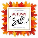 Insegna di Autumn Sale con le foglie di autunno e l'iscrizione luminose della mano Fotografia Stock