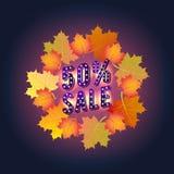 Insegna di Autumn Super Sale con le foglie di autunno Sconti di autunno Offerta speciale Immagine Stock