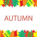 Insegna di autunno con delle le foglie colorate multi Immagine Stock