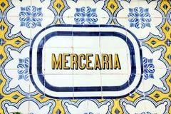 Insegna di Azulejo a Lisbona Fotografia Stock Libera da Diritti
