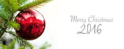 Insegna 2016 di Buon Natale Fotografie Stock Libere da Diritti