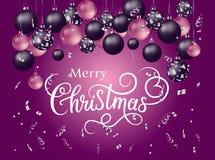 Insegna di Buon Natale con la calligrafia handlettering Fotografia Stock Libera da Diritti