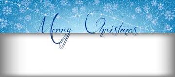 Insegna di Buon Natale con neve e rettangolo per testo Fotografie Stock