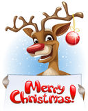 Insegna di Buon Natale della tenuta della renna Immagini Stock