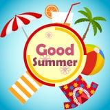 Insegna di buona estate Giovani adulti Palma, un vetro di succo, un asciugamano, una camicia hawaiana, un beach ball e un ombrell Illustrazione Vettoriale