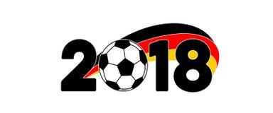 Insegna 2018 di calcio con la bandiera fotografia stock libera da diritti