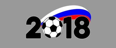Insegna 2018 di calcio con la bandiera della Russia fotografie stock libere da diritti