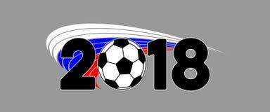 Insegna 2018 di calcio con pallone da calcio e la bandiera della Russia immagini stock libere da diritti