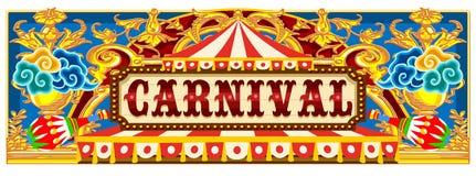 Insegna di carnevale con la tenda di circo illustrazione vettoriale