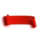 Insegna di carta rossa curva dettagliata realistica, nastro Immagine Stock
