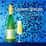 Insegna di celebrazione della cartolina d'auguri della decorazione di Natale di Champagne Happy New Year Merry Fotografie Stock