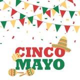 Insegna di Cinco de Mayo con le stamine royalty illustrazione gratis