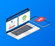 Insegna di concetto di autenticazione di duo con il posto del testo Può usare per l'insegna di web, il infographics, immagini del royalty illustrazione gratis
