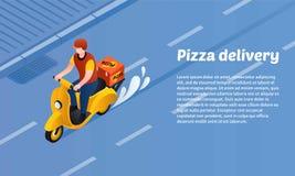 Insegna di concetto di consegna della pizza, stile isometrico illustrazione di stock