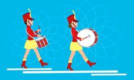 Insegna di concetto dei batteristi della donna, stile piano illustrazione di stock