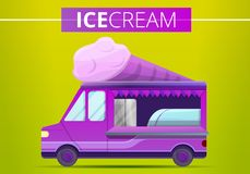 Insegna di concetto del camion del gelato, stile del fumetto illustrazione di stock