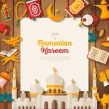Insegna di concetto di Ramadan Kareem su legno illustrazione vettoriale