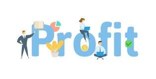Insegna di concetto di parola di PROFITTO Concetto con la gente, lettere e, icone Illustrazione piana di vettore Isolato su bianc royalty illustrazione gratis