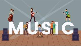 Insegna di concetto di parola di vettore di musica illustrazione di stock