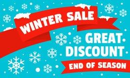 Insegna di concetto di sconto di vendita di inverno grande, stile piano illustrazione di stock
