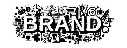 Insegna di concetto di strategia di marca, stile semplice illustrazione di stock