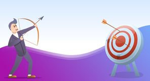 Insegna di concetto di tiro con l'arco, stile del fumetto royalty illustrazione gratis